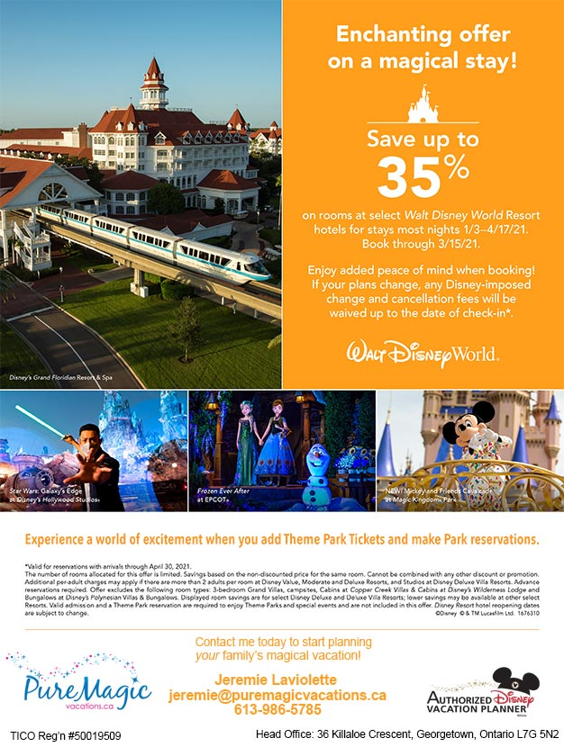 Walt Disney World Offer - Save up to 30% off in early 2021