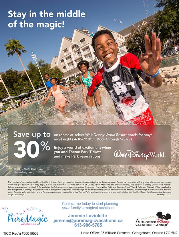 Walt Disney World Offer - Save up to 30% off in through June 2021