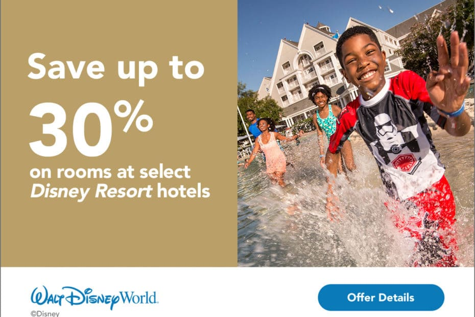 A Walt Disney World offer to save up to 30% on select Disney Resort Hotels with the picture of a young boy splashing through a pool
