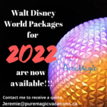 Spaceship Earth at night announcing 2022 Walt Disney World vacation packages.
