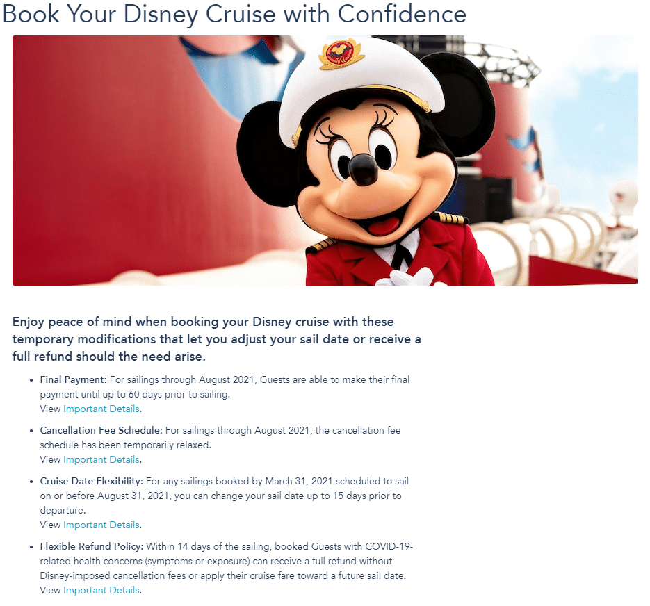 Captain Minnie Mouse on the deck of a Disney Cruise Line ship with the details of the Book with Confidence policy