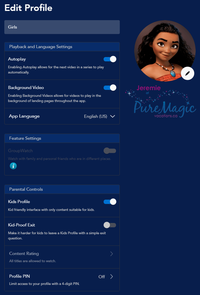 Toggle the Kids Profile setting for your Disney+ account.