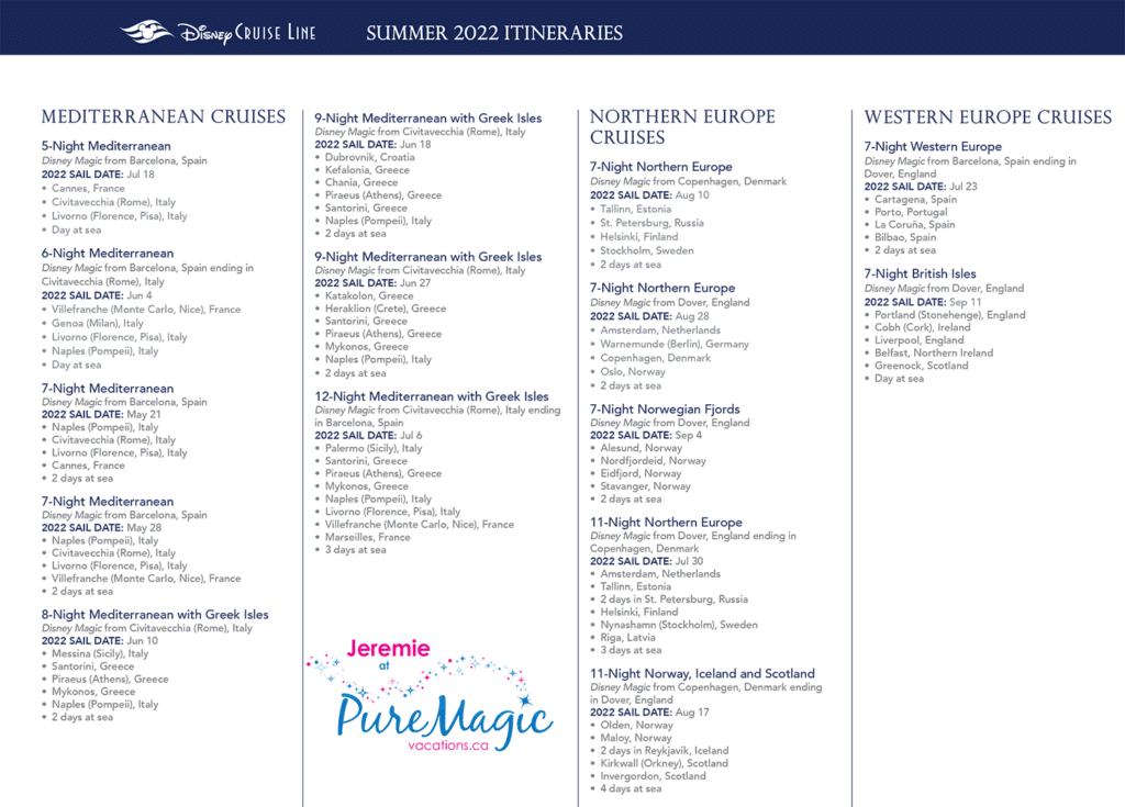 A list of all the Disney Cruise Line Mediterranean and European itineraries for summer 2022