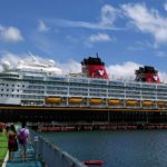 The Disney Magic docked at Fort-de-France, Martinique on a beautiful sunny day.