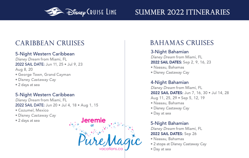 A list of all the Disney Cruise Line itineraries from Miami for summer 2022