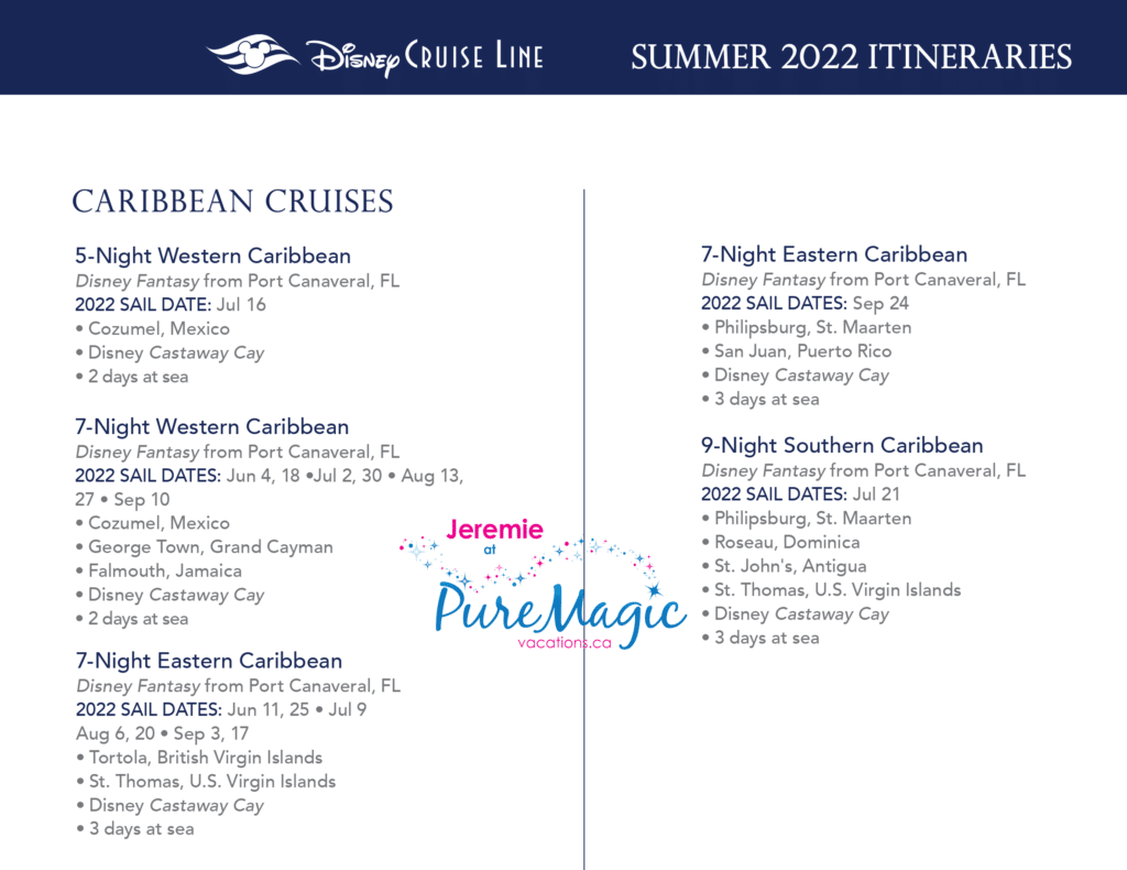 A list of all the Disney Cruise Line itineraries from Port Canaveral for summer 2022