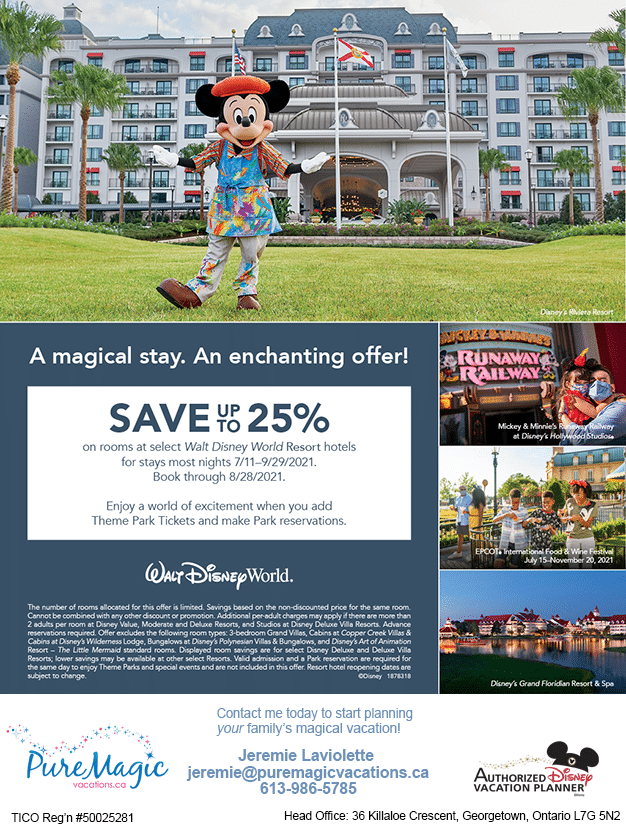 A Walt Disney World Resort hotels promotion to save up to 25% on rooms at select hotels.